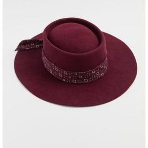 Scarf Trim Telescope Hat in Red Urban Outfitters